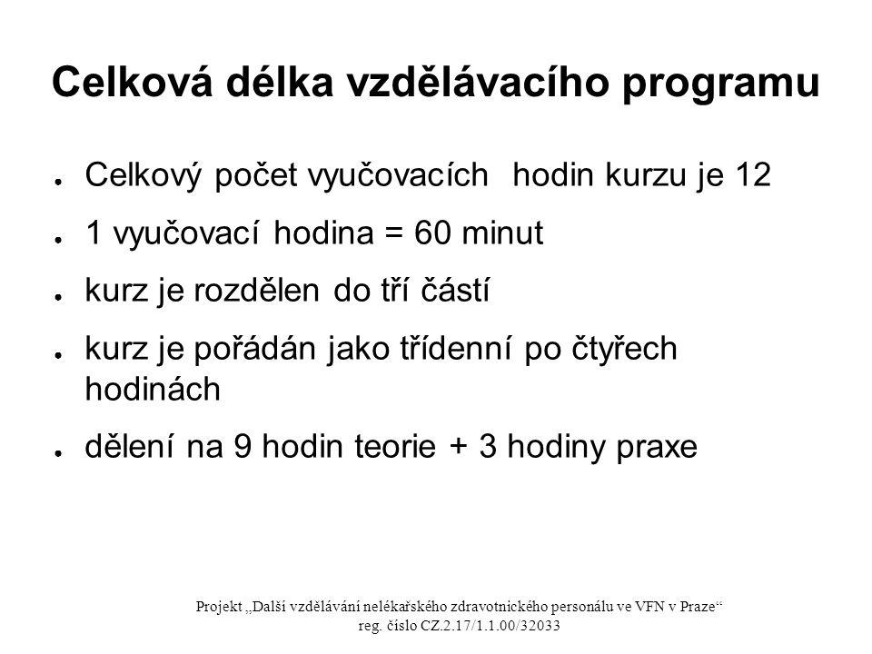 Celková délka vzdělávacího programu ● Celkový počet vyučovacích hodin kurzu je 12 ● 1 vyučovací hodina = 60 minut ● kurz je rozdělen do tří částí ● ku