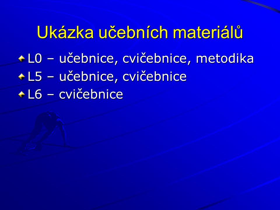 Ukázka učebních materiálů L0 – učebnice, cvičebnice, metodika L5 – učebnice, cvičebnice L6 – cvičebnice
