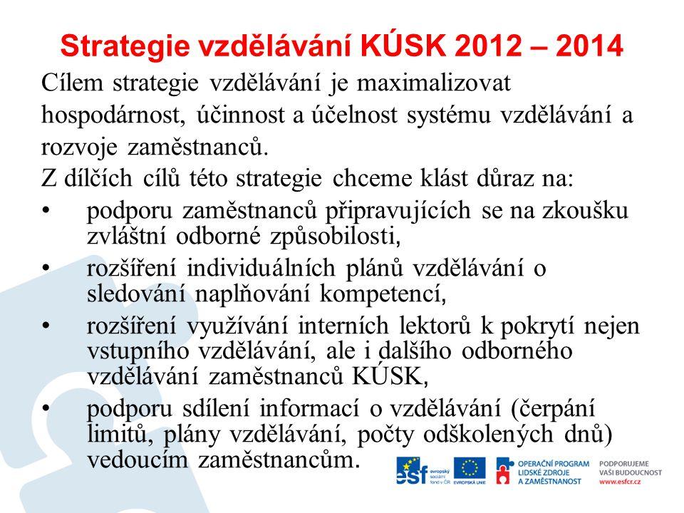 Strategie vzdělávání KÚSK 2012 – 2014 Cílem strategie vzdělávání je maximalizovat hospodárnost, účinnost a účelnost systému vzdělávání a rozvoje zaměs