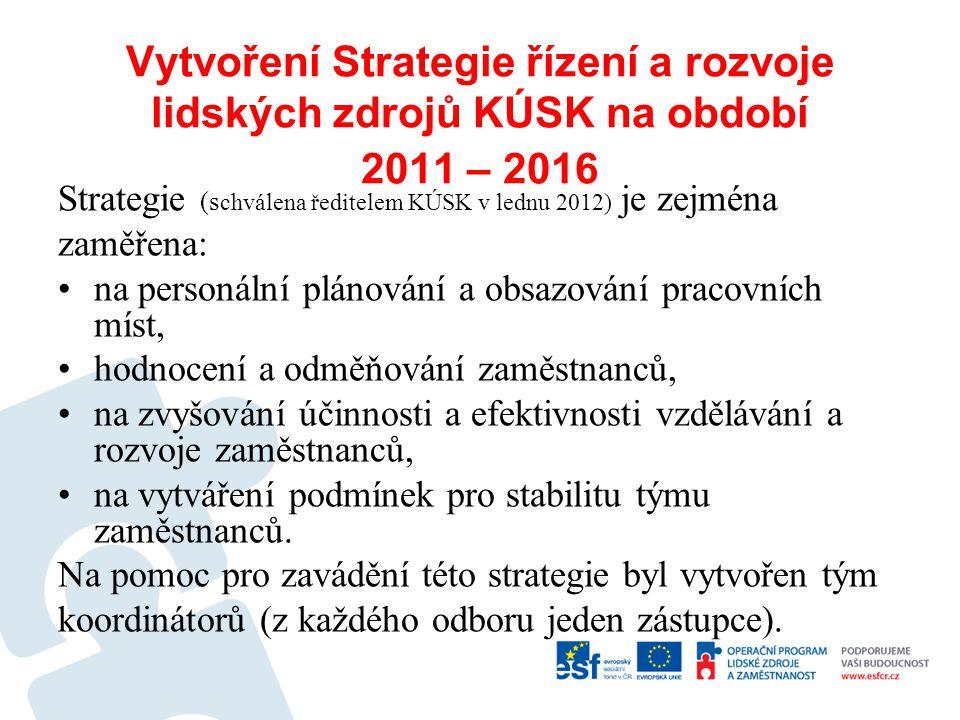 Vytvoření Strategie řízení a rozvoje lidských zdrojů KÚSK na období 2011 – 2016 Strategie (s chválena ředitelem KÚSK v lednu 2012) je zejména zaměřena
