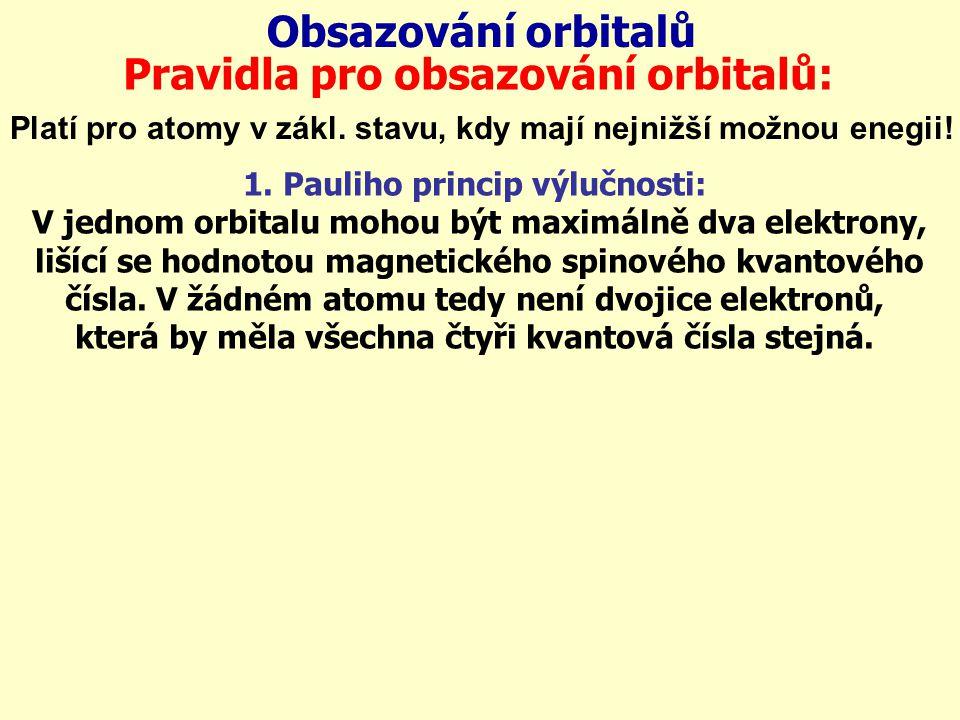 Obsazování orbitalů Pravidla pro obsazování orbitalů: Platí pro atomy v zákl. stavu, kdy mají nejnižší možnou enegii! 1. Pauliho princip výlučnosti: V