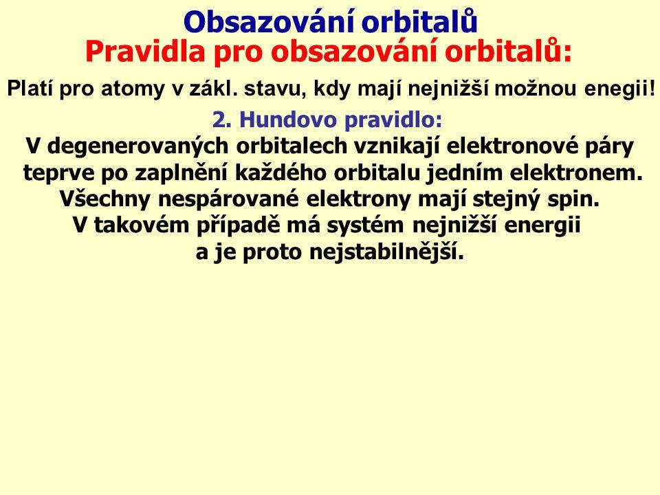 Obsazování orbitalů Pravidla pro obsazování orbitalů: Platí pro atomy v zákl. stavu, kdy mají nejnižší možnou enegii! 2. Hundovo pravidlo: V degenerov