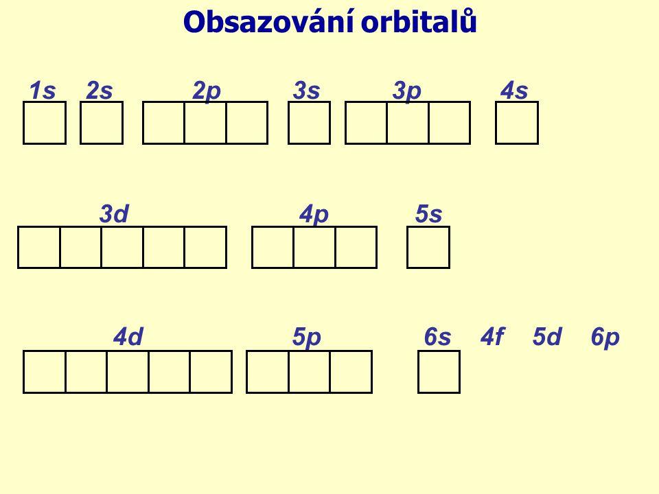 Obsazování orbitalů 1s 2s 2p 3s 3p 4s 3d 4p 5s 4d 5p 6s 4f 5d 6p