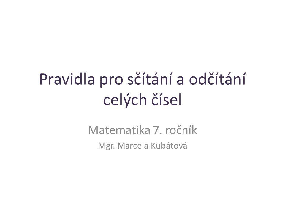 Pravidla pro sčítání a odčítání celých čísel Matematika 7. ročník Mgr. Marcela Kubátová