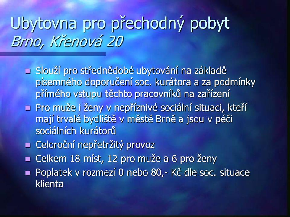 Ubytovna pro přechodný pobyt Brno, Křenová 20  Slouží pro střednědobé ubytování na základě písemného doporučení soc. kurátora a za podmínky přímého v