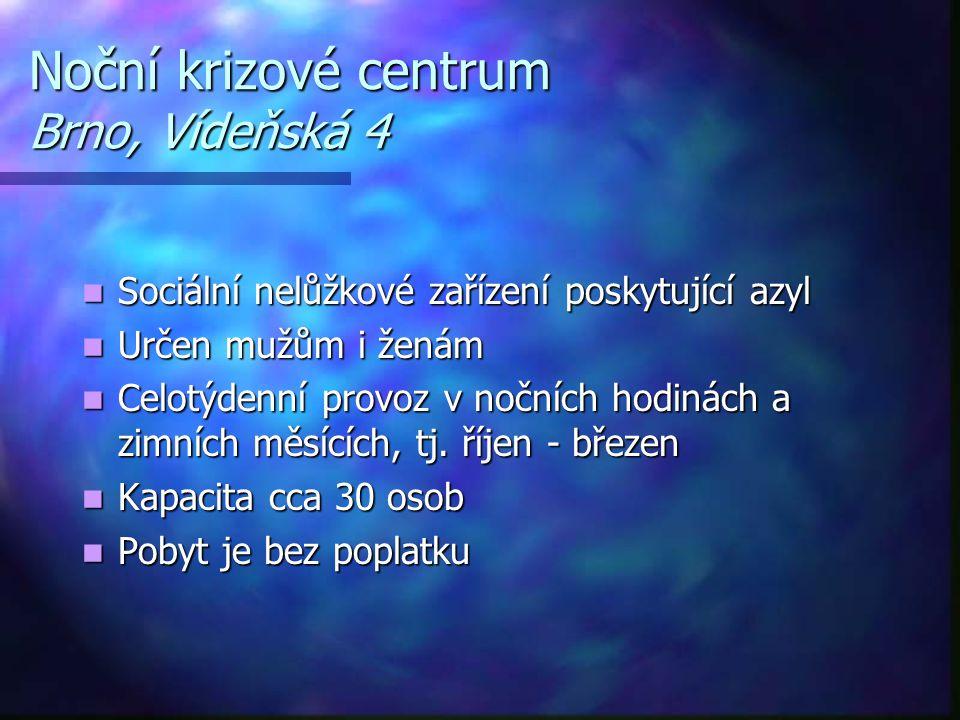 Noční krizové centrum Brno, Vídeňská 4  Sociální nelůžkové zařízení poskytující azyl  Určen mužům i ženám  Celotýdenní provoz v nočních hodinách a