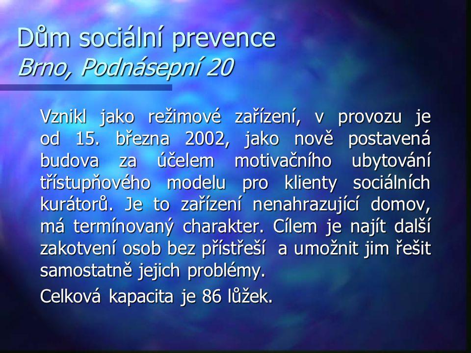 Dům sociální prevence Brno, Podnásepní 20 Vznikl jako režimové zařízení, v provozu je od 15. března 2002, jako nově postavená budova za účelem motivač