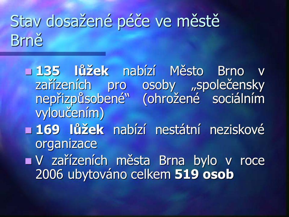 """Stav dosažené péče ve městě Brně  135 lůžek nabízí Město Brno v zařízeních pro osoby """"společensky nepřizpůsobené"""" (ohrožené sociálním vyloučením)  1"""