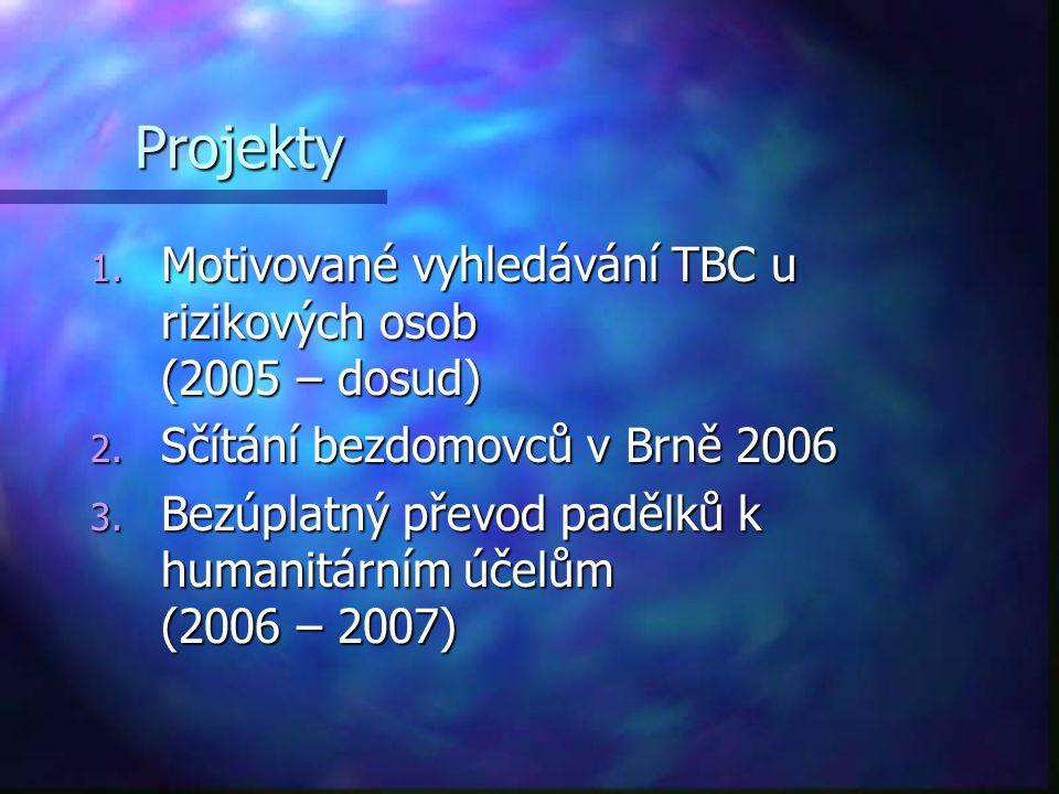 Projekty 1. Motivované vyhledávání TBC u rizikových osob (2005 – dosud) 2. Sčítání bezdomovců v Brně 2006 3. Bezúplatný převod padělků k humanitárním