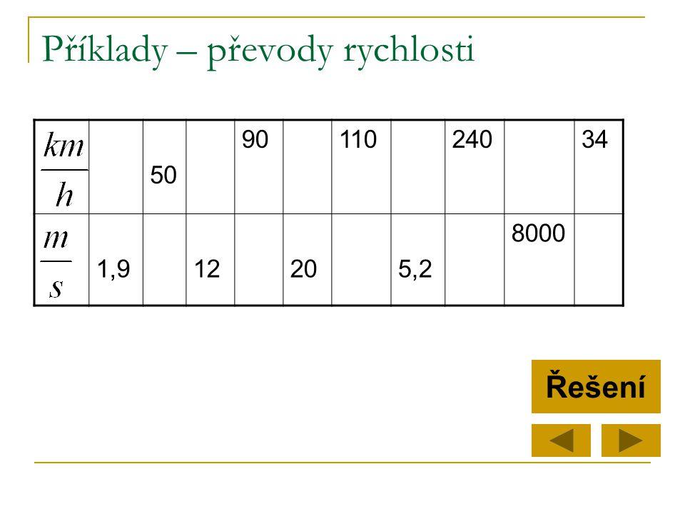 Příklady – převody rychlosti 50 9011024034 1,912205,2 8000 Řešení