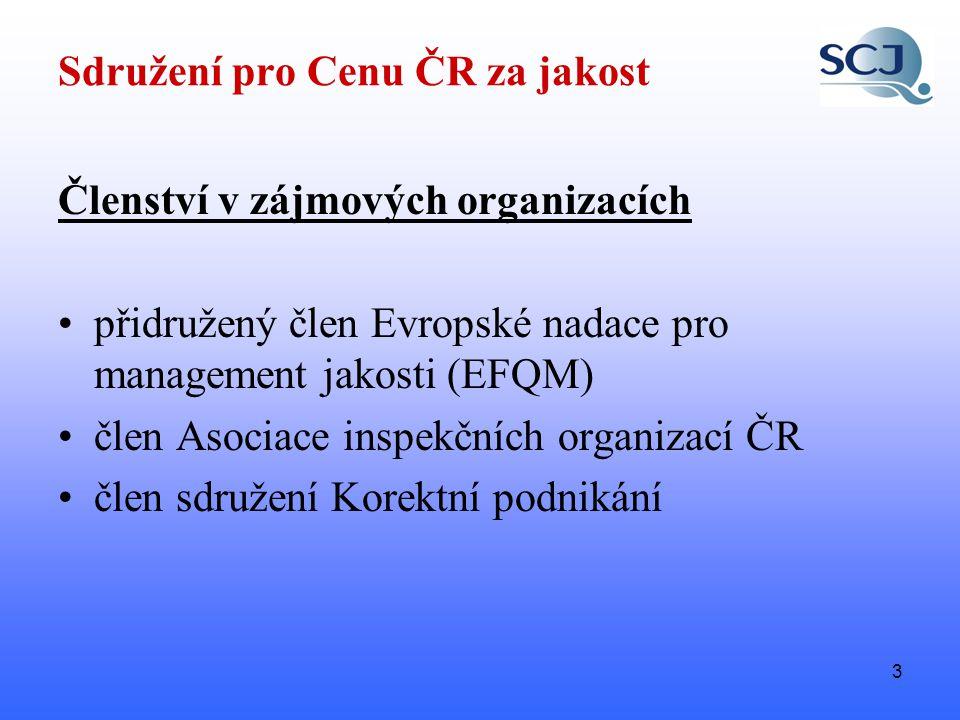 3 Sdružení pro Cenu ČR za jakost Členství v zájmových organizacích •přidružený člen Evropské nadace pro management jakosti (EFQM) •člen Asociace inspekčních organizací ČR •člen sdružení Korektní podnikání