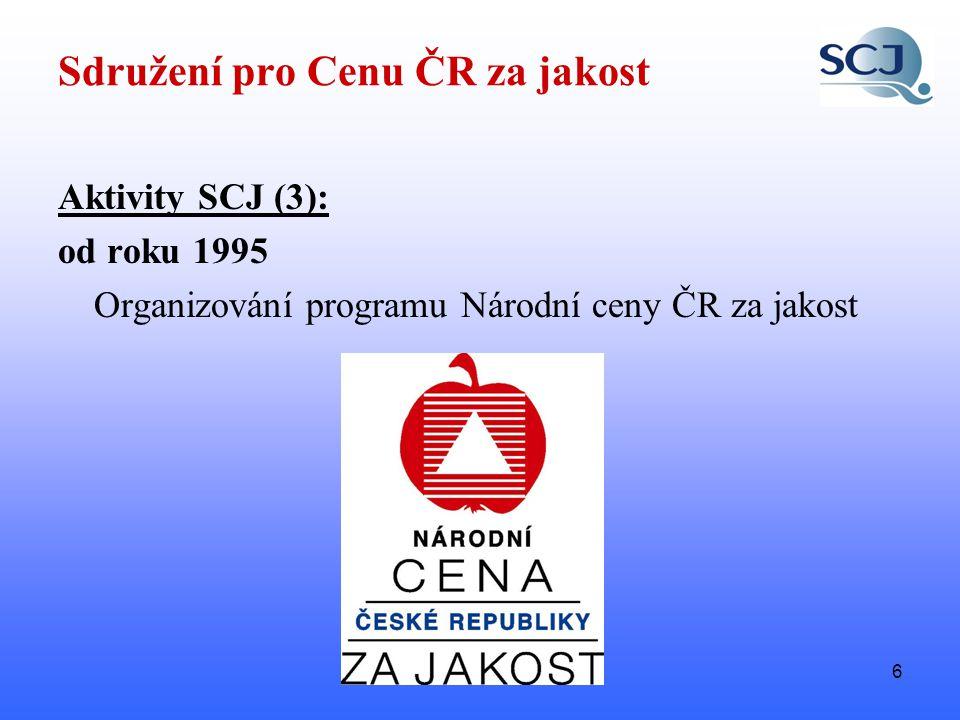 6 Sdružení pro Cenu ČR za jakost Aktivity SCJ (3): od roku 1995 Organizování programu Národní ceny ČR za jakost