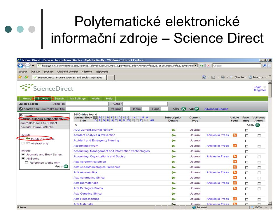 Polytematické elektronické informační zdroje – Science Direct
