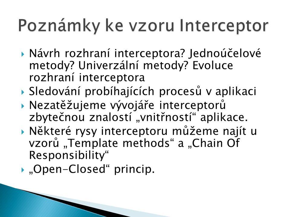  Návrh rozhraní interceptora? Jednoúčelové metody? Univerzální metody? Evoluce rozhraní interceptora  Sledování probíhajících procesů v aplikaci  N