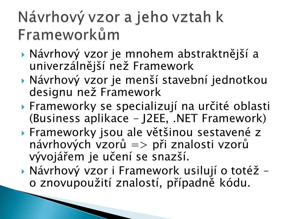  Návrhový vzor je mnohem abstraktnější a univerzálnější než Framework  Návrhový vzor je menší stavební jednotkou designu než Framework  Frameworky