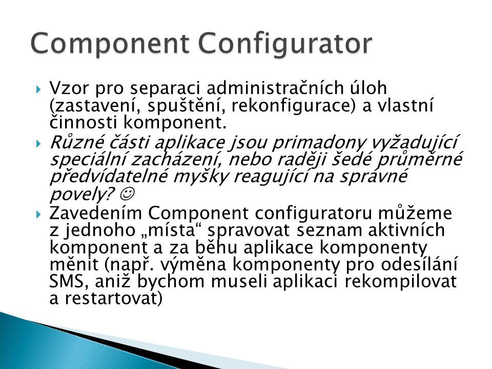  Vzor pro separaci administračních úloh (zastavení, spuštění, rekonfigurace) a vlastní činnosti komponent.  Různé části aplikace jsou primadony vyža