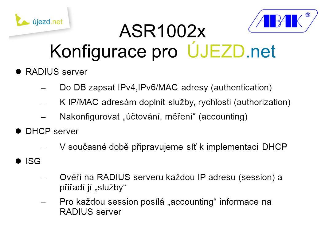 """ASR1002x Konfigurace pro ÚJEZD.net  RADIUS server – Do DB zapsat IPv4,IPv6/MAC adresy (authentication) – K IP/MAC adresám doplnit služby, rychlosti (authorization) – Nakonfigurovat """"účtování, měření (accounting)  DHCP server – V současné době připravujeme síť k implementaci DHCP  ISG – Ověří na RADIUS serveru každou IP adresu (session) a přiřadí jí """"služby – Pro každou session posílá """"accounting informace na RADIUS server"""