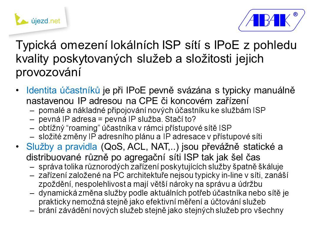 Typická omezení lokálních ISP sítí s IPoE z pohledu kvality poskytovaných služeb a složitosti jejich provozování •Identita účastníků je při IPoE pevně svázána s typicky manuálně nastavenou IP adresou na CPE či koncovém zařízení –pomalé a nákladné připojování nových účastníku ke službám ISP –pevná IP adresa = pevná IP služba.