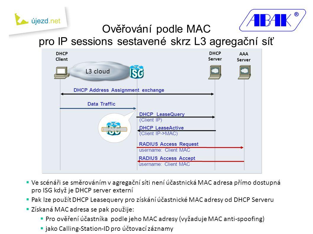 DHCP Client AAA Server DHCP Server Ověřování podle MAC pro IP sessions sestavené skrz L3 agregační síť L3 cloud Data Traffic DHCP LeaseQuery (Client IP) DHCP LeaseActive (Client IP->MAC) DHCP Address Assignment exchange RADIUS Access Request username: Client MAC RADIUS Access Accept username: Client MAC  Ve scénáři se směrováním v agregační síti není účastnická MAC adresa přímo dostupná pro ISG když je DHCP server externí  Pak lze použít DHCP Leasequery pro získání účastnické MAC adresy od DHCP Serveru  Získaná MAC adresa se pak použije:  Pro ověření účastníka podle jeho MAC adresy (vyžaduje MAC anti-spoofing)  jako Calling-Station-ID pro účtovací záznamy