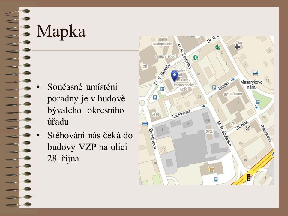 Mapka •Současné umístění poradny je v budově bývalého okresního úřadu •Stěhování nás čeká do budovy VZP na ulici 28.