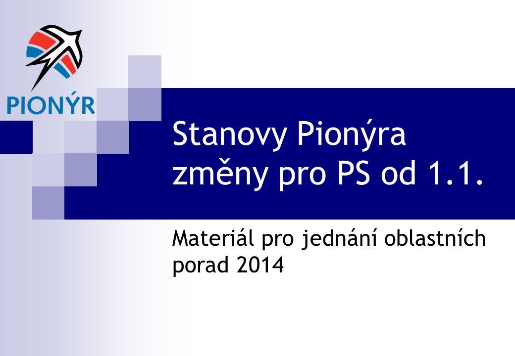 Stanovy Pionýra změny pro PS od 1.1. Materiál pro jednání oblastních porad 2014