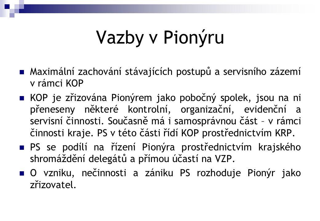 Vazby v Pionýru  Maximální zachování stávajících postupů a servisního zázemí v rámci KOP  KOP je zřizována Pionýrem jako pobočný spolek, jsou na ni