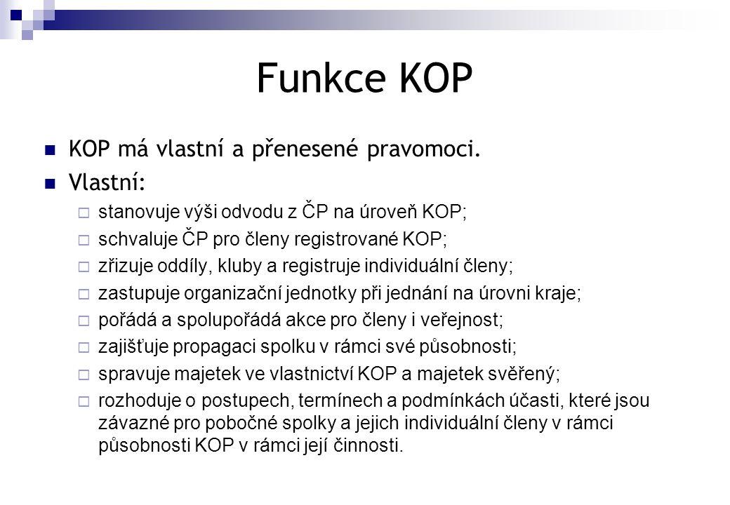 Funkce KOP  KOP má vlastní a přenesené pravomoci.  Vlastní:  stanovuje výši odvodu z ČP na úroveň KOP;  schvaluje ČP pro členy registrované KOP; 
