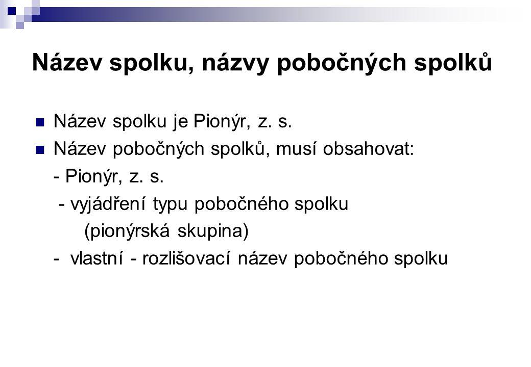 Název spolku, názvy pobočných spolků  Název spolku je Pionýr, z. s.  Název pobočných spolků, musí obsahovat: - Pionýr, z. s. - vyjádření typu pobočn