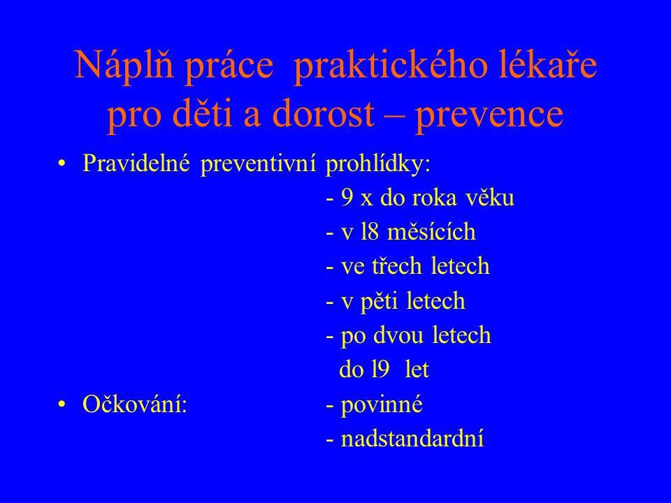 Náplň práce praktického lékaře pro děti a dorost – prevence •Pravidelné preventivní prohlídky: - 9 x do roka věku - v l8 měsících - ve třech letech -
