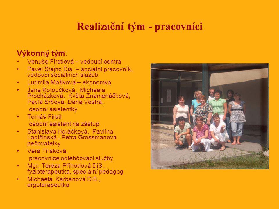 Realizační tým - pracovníci Výkonný tým: •Venuše Firstlová – vedoucí centra •Pavel Štajnc Dis.