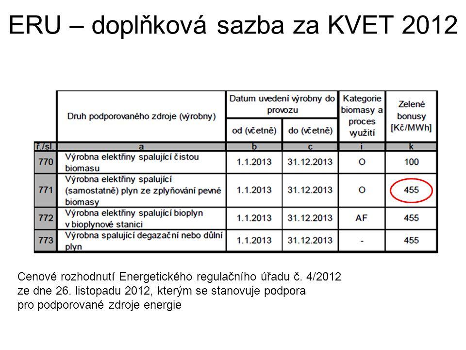 ERU – doplňková sazba za KVET 2012 Cenové rozhodnutí Energetického regulačního úřadu č. 4/2012 ze dne 26. listopadu 2012, kterým se stanovuje podpora