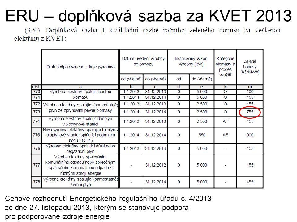 ERU – doplňková sazba za KVET 2013 Cenové rozhodnutí Energetického regulačního úřadu č. 4/2013 ze dne 27. listopadu 2013, kterým se stanovuje podpora