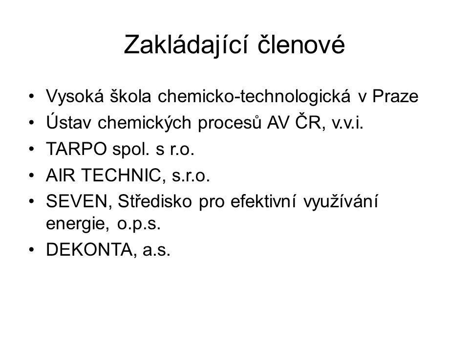Zakládající členové •Vysoká škola chemicko-technologická v Praze •Ústav chemických procesů AV ČR, v.v.i. •TARPO spol. s r.o. •AIR TECHNIC, s.r.o. •SEV
