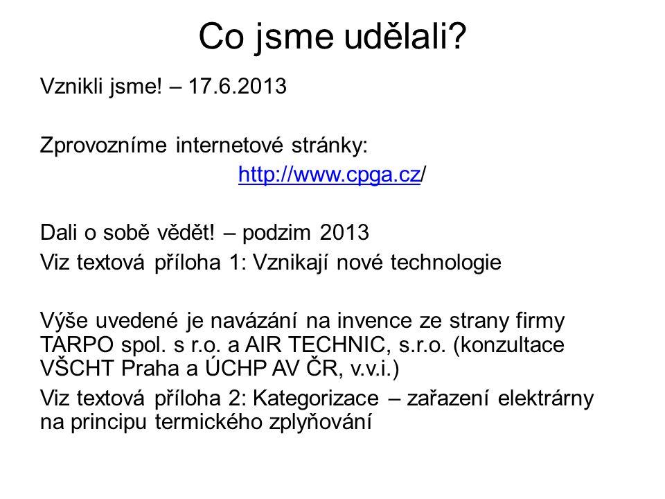 Co jsme udělali? Vznikli jsme! – 17.6.2013 Zprovozníme internetové stránky: http://www.cpga.czhttp://www.cpga.cz/ Dali o sobě vědět! – podzim 2013 Viz