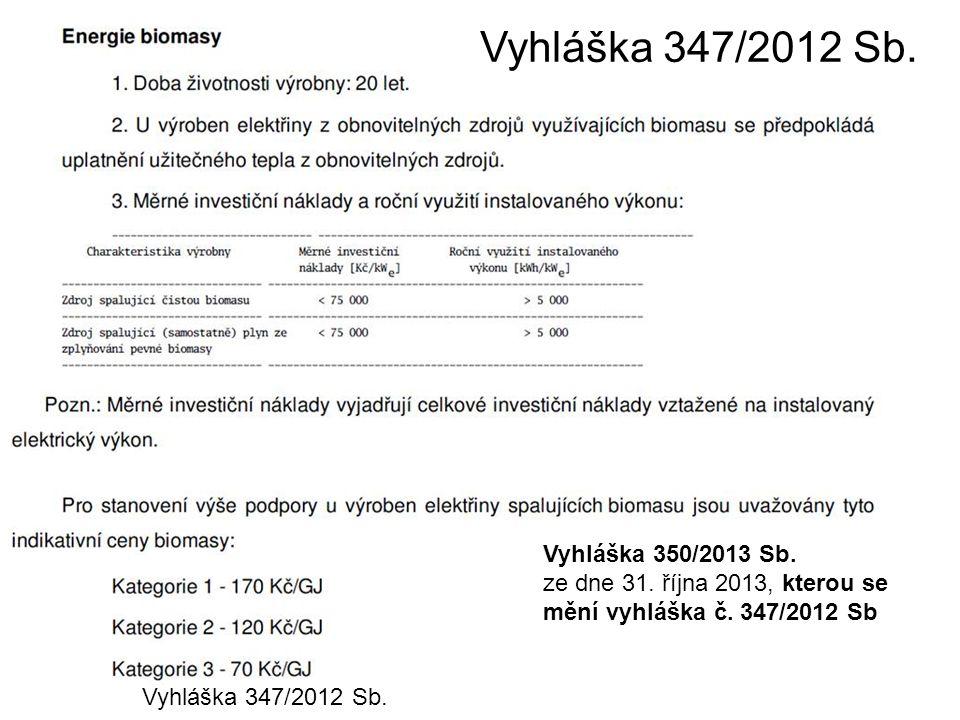 Vyhláška 347/2012 Sb. Vyhláška 350/2013 Sb. ze dne 31. října 2013, kterou se mění vyhláška č. 347/2012 Sb Vyhláška 347/2012 Sb.