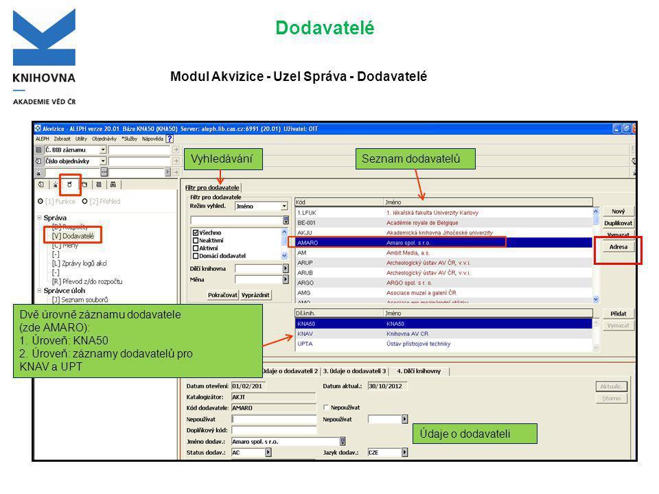 Dodavatelé Seznam dodavatelů Dvě úrovně záznamu dodavatele (zde AMARO): 1.