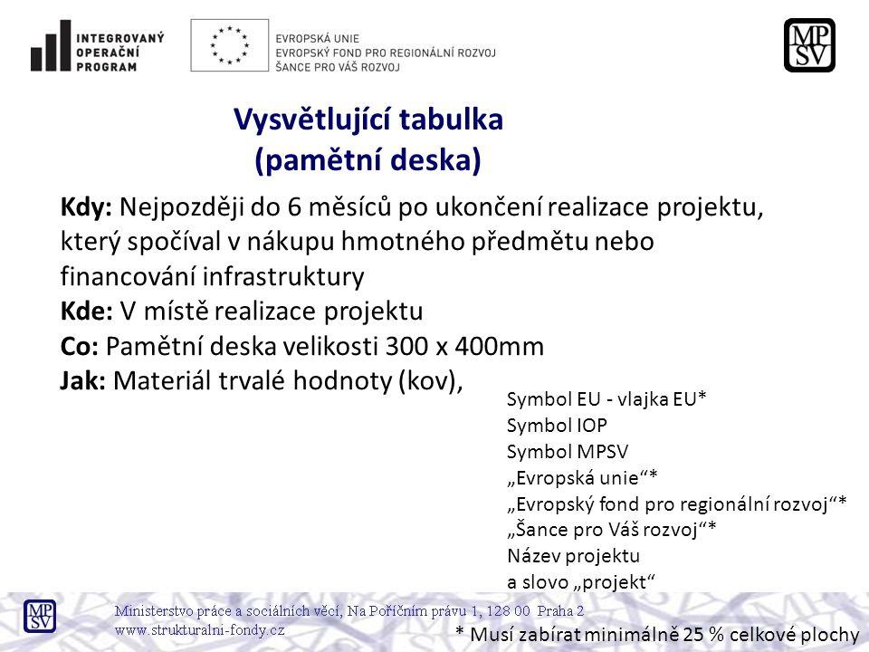 """Kdy: Nejpozději do 6 měsíců po ukončení realizace projektu, který spočíval v nákupu hmotného předmětu nebo financování infrastruktury Kde: V místě realizace projektu Co: Pamětní deska velikosti 300 x 400mm Jak: Materiál trvalé hodnoty (kov), Vysvětlující tabulka (pamětní deska) Symbol EU - vlajka EU* Symbol IOP Symbol MPSV """"Evropská unie * """"Evropský fond pro regionální rozvoj * """"Šance pro Váš rozvoj * Název projektu a slovo """"projekt * Musí zabírat minimálně 25 % celkové plochy"""