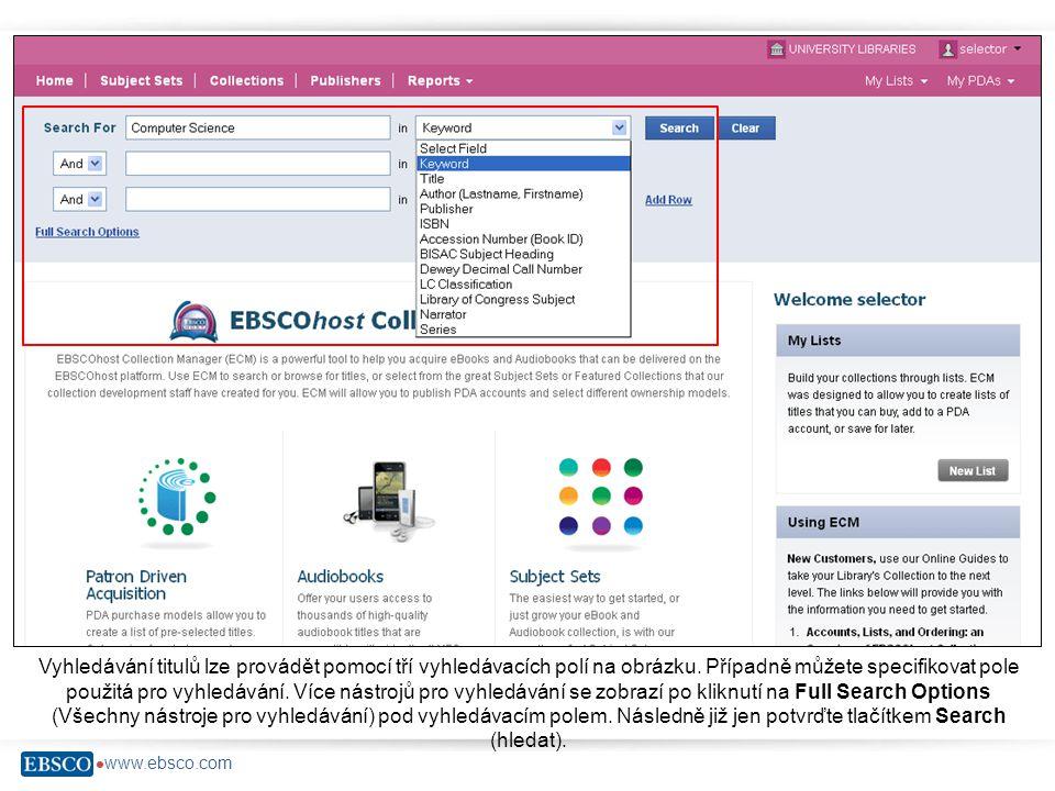 www.ebsco.com Seznam nalezených výsledků elektronických a audio knih se zobrazí následovně.