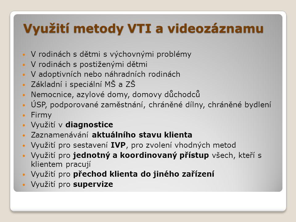 Využití metody VTI a videozáznamu Využití metody VTI a videozáznamu  V rodinách s dětmi s výchovnými problémy  V rodinách s postiženými dětmi  V ad