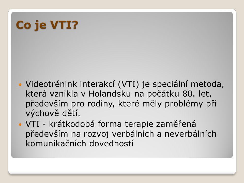 Co je VTI?  Videotrénink interakcí (VTI) je speciální metoda, která vznikla v Holandsku na počátku 80. let, především pro rodiny, které měly problémy