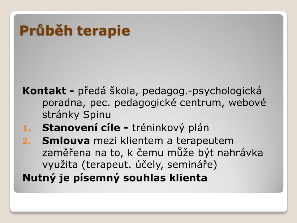 Průběh terapie Terapie se skládá ze tří části: 1.Nahrávání 2.