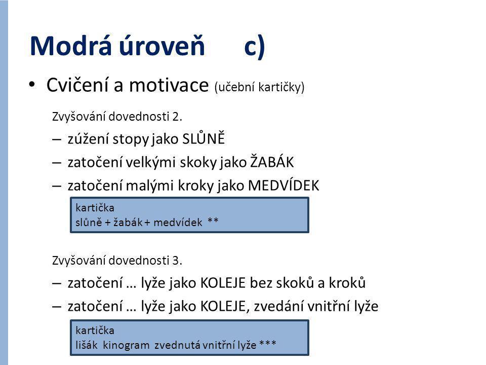 Modrá úroveň c) • Cvičení a motivace (učební kartičky) Zvyšování dovednosti 2. – zúžení stopy jako SLŮNĚ – zatočení velkými skoky jako ŽABÁK – zatočen