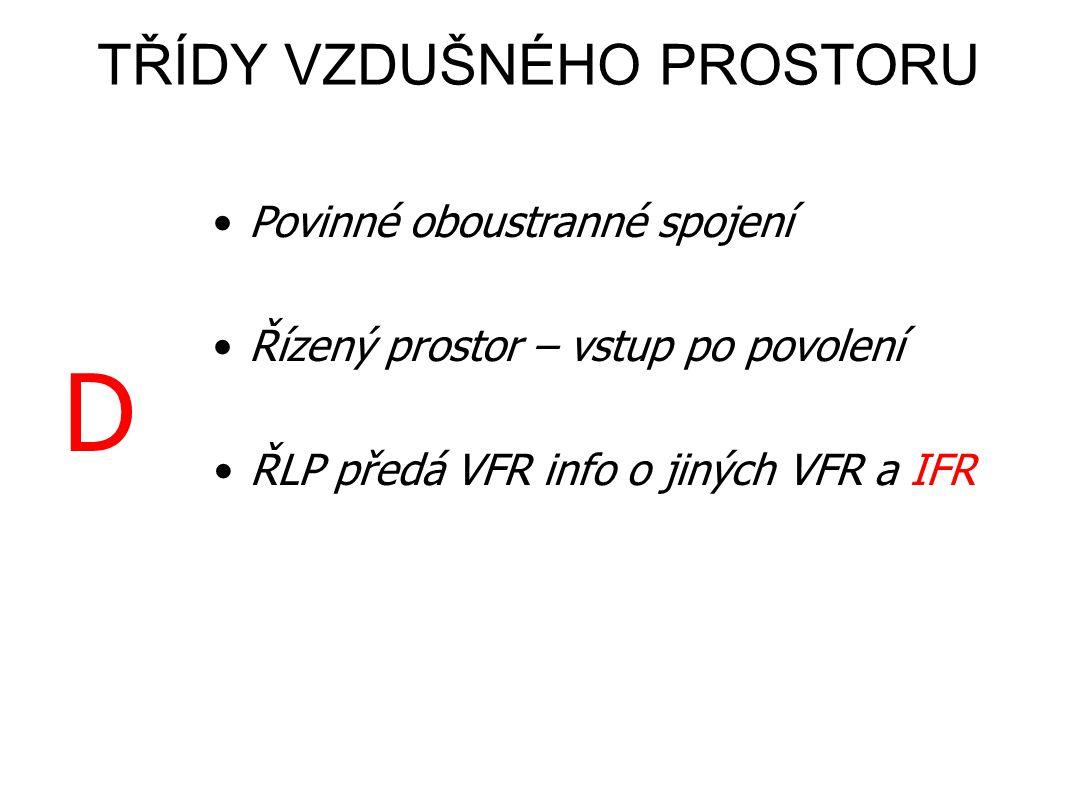 •Povinné oboustranné spojení •Řízený prostor – vstup po povolení •ŘLP předá VFR info o jiných VFR •ŘLP zajistí VFR rozstup od IFR CD •ŘLP předá VFR in