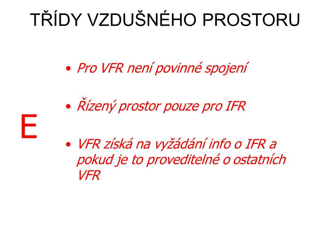 DE •Povinné oboustranné spojení •Řízený prostor – vstup po povolení •ŘLP předá VFR info o jiných VFR a IFR •Pro VFR není povinné spojení •Řízený prostor pouze pro IFR •VFR získá na vyžádání info o IFR a pokud je to proveditelné o ostatních VFR TŘÍDY VZDUŠNÉHO PROSTORU