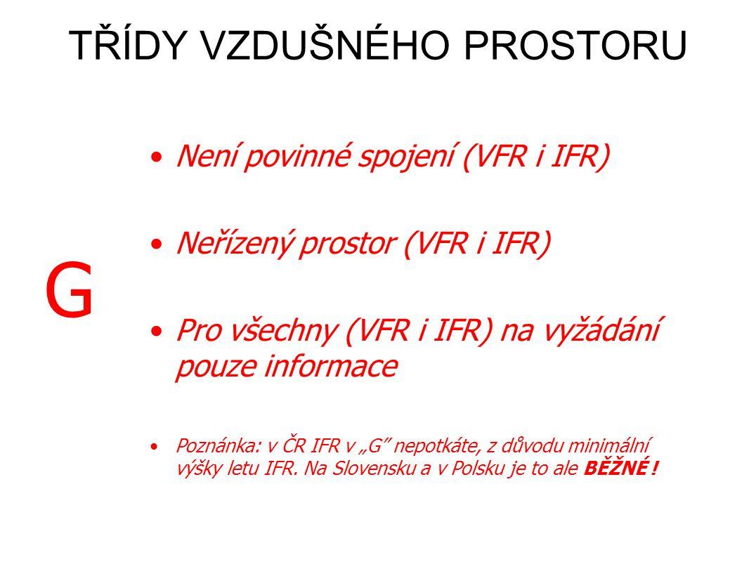 """E G •Pro VFR není povinné spojení •Řízený prostor pouze pro IFR •VFR získá na vyžádání info o IFR a pokud je to proveditelné o ostatních VFR •Není povinné spojení (VFR i IFR) •Neřízený prostor (VFR i IFR) •Pro všechny (VFR i IFR) na vyžádání pouze informace •Poznánka: v ČR IFR v """"G nepotkáte, z důvodu minimální výšky letu IFR."""