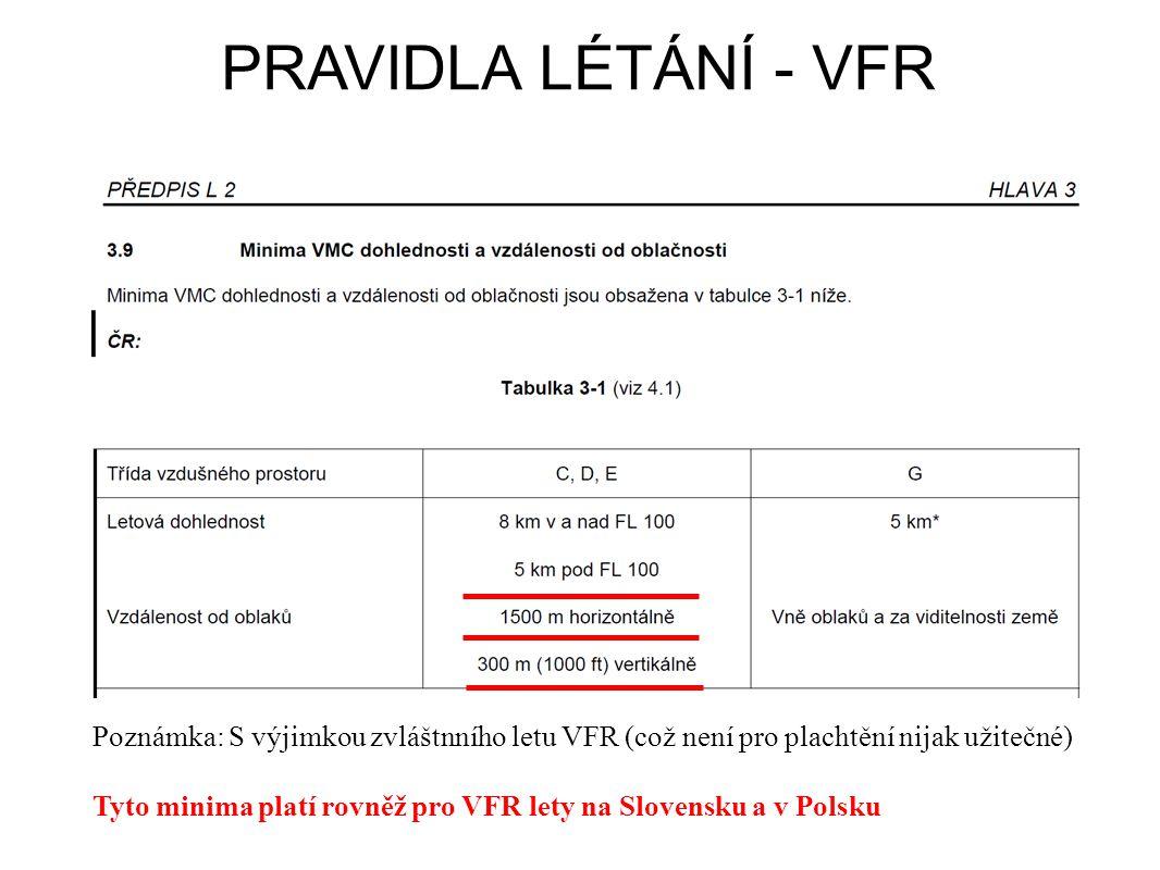 PRAVIDLA LÉTÁNÍ - VFR Poznámka: S výjimkou zvláštnního letu VFR (což není pro plachtění nijak užitečné) Tyto minima platí rovněž pro VFR lety na Slovensku a v Polsku