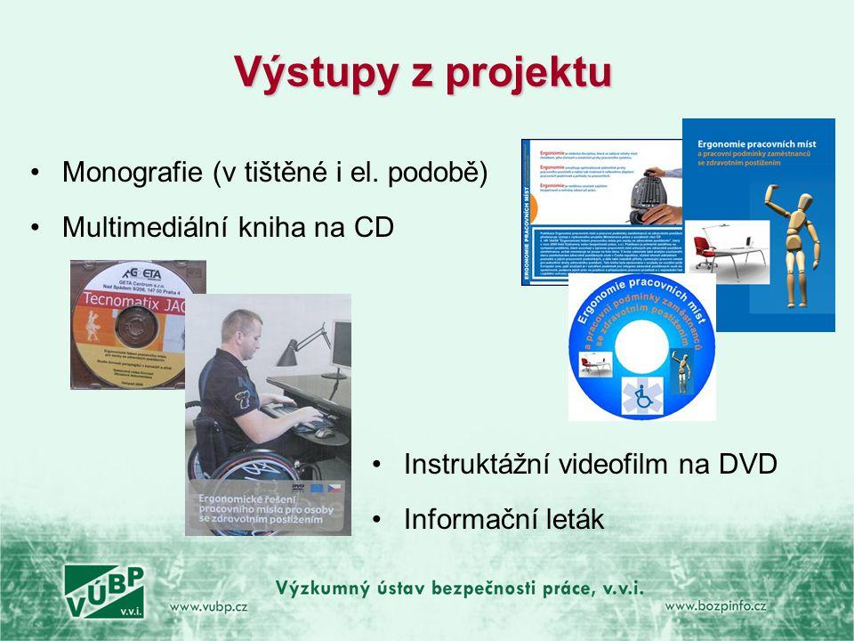 Výstupy z projektu •Monografie (v tištěné i el. podobě) •Multimediální kniha na CD •Instruktážní videofilm na DVD •Informační leták