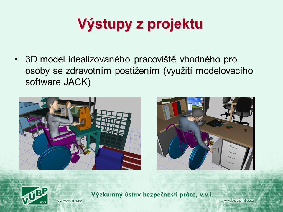 Výstupy z projektu •3D model idealizovaného pracoviště vhodného pro osoby se zdravotním postižením (využití modelovacího software JACK)