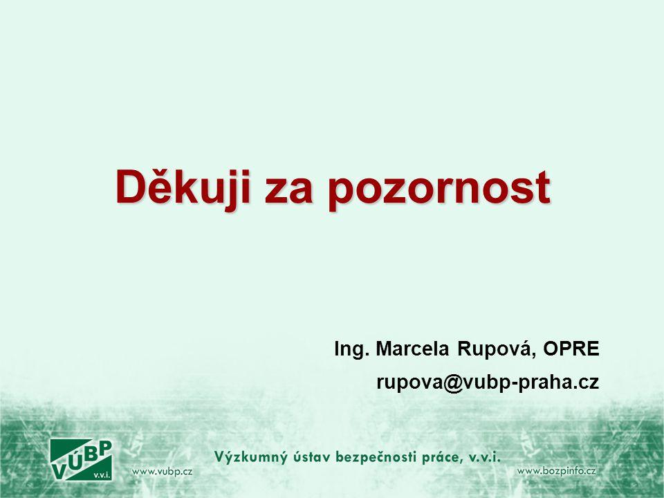 Děkuji za pozornost Ing. Marcela Rupová, OPRE rupova@vubp-praha.cz