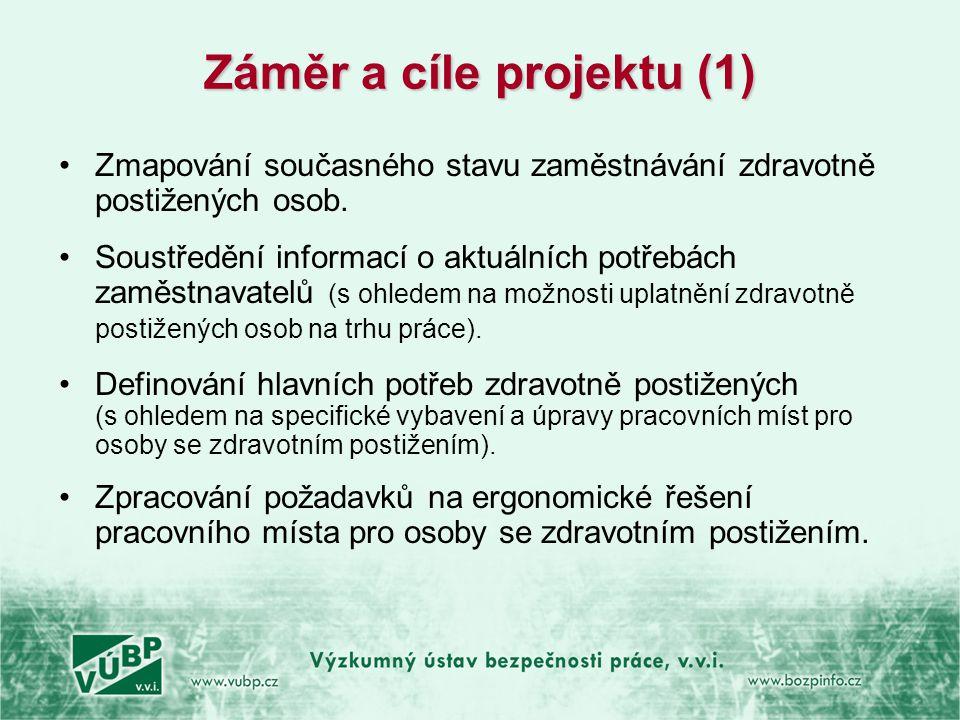 Záměr a cíle projektu (2) •Výzkum dílčích aspektů pracovního místa a pracovního prostředí na pracovištích, kde jsou zaměstnány OZP.